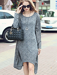 LUTING Women's Round Neck Long Sleeve Above Knee Dress-6732