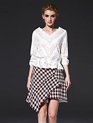 mulheres frmz de sair simples meio de mola blousesolid v pescoço de algodão de manga