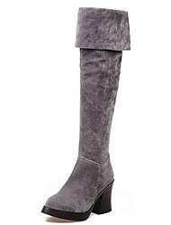 Feminino-Botas-Plataforma Inovador Botas de Cowboy Botas de Neve Botas da Moda-Salto Grosso Plataforma-Preto Vermelho Cinza-Couro