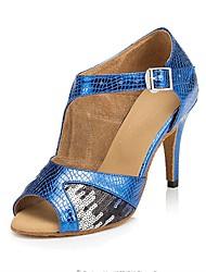 Customizable Women's Dance Shoes Leatherette / Paillette Latin / Salsa Sandals / Heels Customized Heel Indoor /