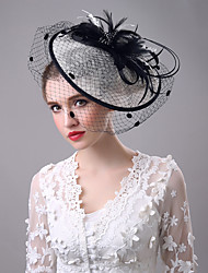 Women's Black Birdcage Veils Organza Headpiece-Wedding Tulle Net Fascinators with Lace Feather Hat