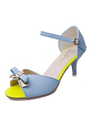 Women's Sandals Summer PU Outdoor Stiletto Heel Bowknot Blue Purple White Others