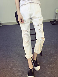 Women's Solid White Jeans PantsSimple Spring / Summer