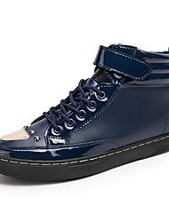 Men's Flats Spring / Summer / Fall / Winter Comfort  Casual Flat Heel Magic Tape / Lace-up Black / Blue / Red Walking
