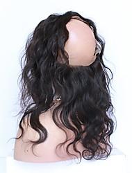 10''-20'' Nero naturale (#1B) Lace frontale Ondulato naturale Capelli Chiusura Castano medio Uncinetto svizzero 85g grammo Media Cap Size