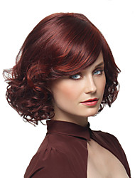 2016 Hot Highlight European Women Loves Red Short Curly Wig Synthetic Heat Resistant Wig With Side Bangs