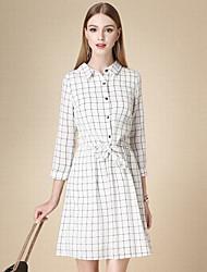Feminino Camisa Vestido,Casual Simples Xadrez Colarinho de Camisa Acima do Joelho Manga ¾ Branco Algodão Outono Cintura AltaSem