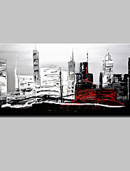 Large Size Hand Painted Modern Abstract City Landscape Oil Paintings On Canvas With Stretched Frame Ready To Hang