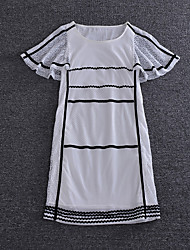 Boutique S  Going out Simple Loose DressPrint Round Neck Above Knee Short Sleeve White / Black Silk