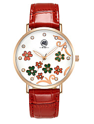 Carol Rose Golden Case Flower Dial Red Leather Strap Watch