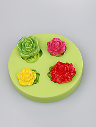 Baking tools silicone mold for rose shape fondant cake decoration chocolate mold candy fimo clay Color Random