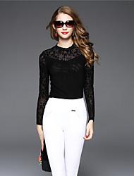 BOMOVO® Mujer Escote Chino Manga Larga Camiseta Negro-B16QAH5