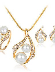 Women's Alloy Rhinestone Imitation Pearl Silver Plated Necklace & Earrings & Ring Jewelry Sets