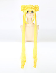 Fashion Long Straight Wigs Yellow Color Synthetic Cosplay African American Wigs