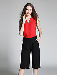 Women's Going out / Casual/Daily Simple Summer Blouse PantSolid V Neck Sleeveless Red Special Leather Types Sheer / Thin