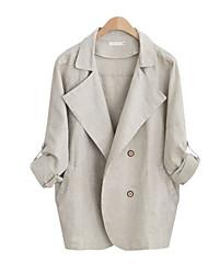 Damen Solide Street Schick Ausgehen Jacke,Schal Revers Herbst Langarm Weiß / Grau Baumwolle / Polyester Mittel