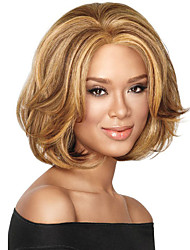 Capless Mix Color Medium Length High Quality Natural Wave Hair Synthetic Wig with Full Bang