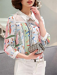 Mulheres Blusa Colarinho de Camisa Manga Longa Patchwork Poliéster Mulheres