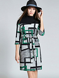 Women's Going out / Casual/Daily / Holiday Simple / Street chic Sheath / Sweater DressPrint / Color Block Stand