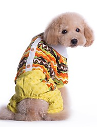 Cat Dog Clothes/Jumpsuit Dog Clothes Winter Spring/Fall Stripe Holiday Fashion Yellow Blue
