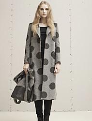 Damen Punkt Einfach Ausgehen / Lässig/Alltäglich Mantel,Winter Gekerbtes Revers Langarm Grau Dick Wolle / Polyester