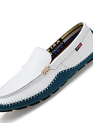 Men's Loafers & Slip-Ons Comfort Cowhide / Leather Casual Flat Heel Slip-on Black / Blue / Brown / White