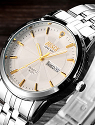 BOSCK® Men's Analog Quartz 30M Water Ressistant Calendar Luminous Silver Steel Band Wrist Dress Watch