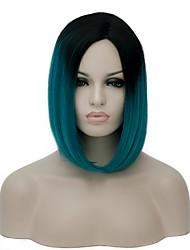жен. Парики из искусственных волос Без шапочки-основы Короткий Зеленый монолитным парики Парик для Хэллоуина Карнавальный парик