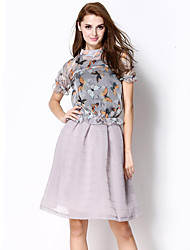 Women's Going out Sophisticated Summer Set SkirtPrint Stand Short Sleeve Gray Polyester Medium