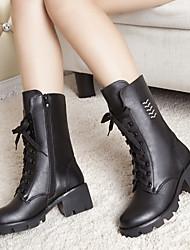 Women's Boots Leather Fall Casual Chunky Heel Block Heel Black 2in-2 3/4in