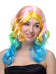 Carousel Pastel Rainbow Pink Yellow Green and Blue Long Curly Halloween Wig Synthetic Wigs Costume Wigs