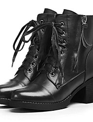 Women's Boots Fall / Winter Combat Boots Leather Outdoor Chunky Heel Lace-up Black / Brown Others