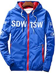 Men's Long Sleeve Casual / Sport JacketNylon Solid Black / Blue / Red