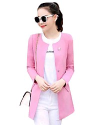 Women's Casual/Daily Street chic Fashion Hin Thin All Match Fall Jackets,Solid Round Neck Long Sleeve