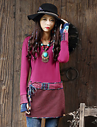 Our Story Going out Vintage Spring / Fall T-shirtGeometric Round Neck Long Sleeve Pink Rayon / Polyester