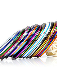 10pcs/set Mixed Colors Rolls Striping Tape Line Metallic Yarn Line Nail Art Decoration Sticker
