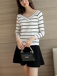 Damen Gestreift Einfach Lässig/Alltäglich T-shirt,V-Ausschnitt Herbst Langarm Weiß / Schwarz Baumwolle Mittel