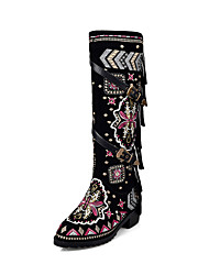 Women's Boots Spring / Fall / Winter Fashion Boots / Round Toe  Dress / Casual Low Heel Zipper Black Cowhide