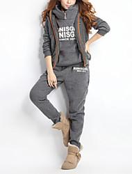 chaqueta informal color sólido con capucha y pantalones de tres piezas