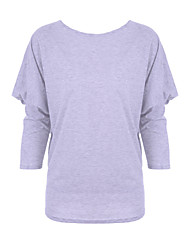 Damen Solide Übergröße T-shirt,Bateau Herbst Langarm Rot / Grau / Grün Baumwolle Mittel