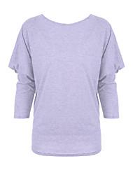 T-shirt Da donna Taglie forti Autunno,Tinta unita A barca Cotone Rosso / Grigio / Verde Manica lunga Medio spessore