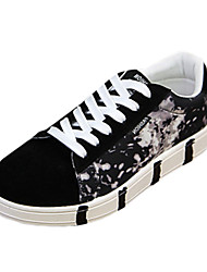 Men's Sneakers Spring Fall Comfort Fabric Casual Flat Heel Lace-up Blue Black and Red Black and White