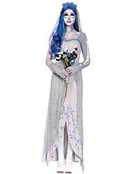 Costumes de Cosplay / Costume de Soirée Esprit Fête / Célébration Déguisement Halloween Gris Couleur Pleine Robe / Plus d'accessoires