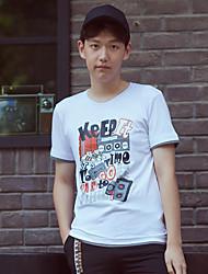 WOWTEE Hommes Col Arrondi Manche Courtes T-shirt Blanc / Rose-WT-TX012-1