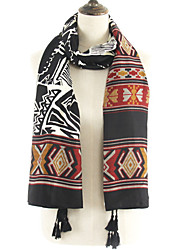 Women Stripes Geometric Patterns Color Stitching Printing Fringed Shawl Scarves