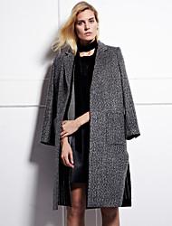 Damen Solide / Einfarbig Einfach Arbeit Mantel,Winter Steigendes Revers Langarm Grau Mittel Wolle / Polyester
