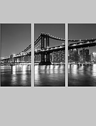 E-HOME® City Bridge Decorative Canvas Print with LED lights Set of 3