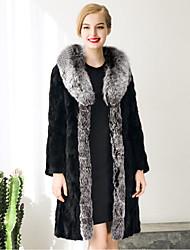 Women's Plus Size Sophisticated Fur Coat Solid  Peaked Lapel Long Sleeve Winter Black Faux Raccon Fur / PU Thick Coat