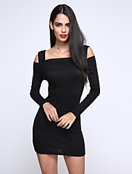 Women's Off The Shoulder SANFENZISE™ Square Cut Off Shoulder Bodycon Dress