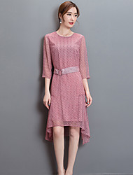Feminino Bainha Vestido,Happy-Hour / Casual / Festa/Coquetel Vintage / Simples / Sofisticado Estampado Decote RedondoAltura dos Joelhos /